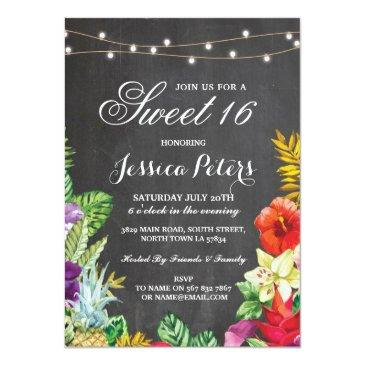 sweet 16 party aloha tropical lights invite