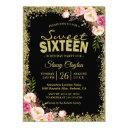 sweet 16 party - black gold glitters pink floral invitation