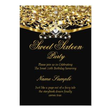 Small Sweet 16 Party Glitter Gold Black Invitation Front View