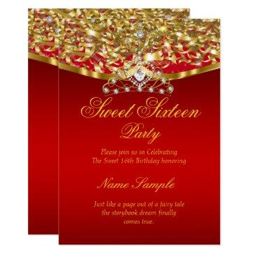 sweet 16 party glitter red gold