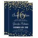 sweet 16 party gold & navy glitter confetti invitation