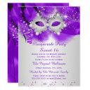 sweet 16 party mask purple silver masquerade invitation