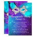 sweet 16 party mask teal purple silver masquerade invitations