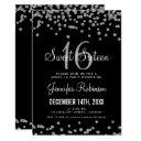 sweet 16 party silver & black glitter confetti invitation