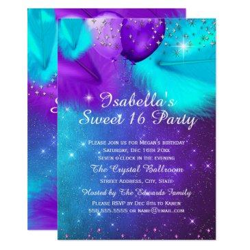 sweet 16 party teal purple silver balloons
