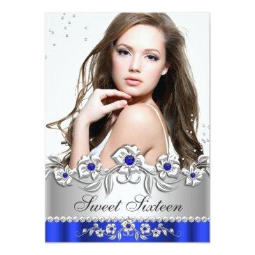 Small Sweet 16 Photo Royal Blue Silver Diamond Jewel Front View