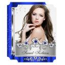 sweet 16 photo royal blue silver diamond jewel invitation