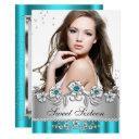 sweet 16 photo teal blue silver diamond jewel invitation
