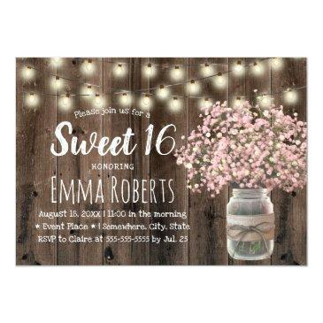 Small Sweet 16 Pink Baby's Breath Floral Jar Barn Wood Invitation Front View