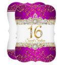 sweet 16 pink gold diamond glamour birthday invitations