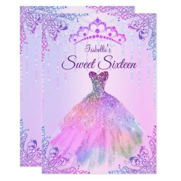 sweet 16 pink purple lilac silver pearl gown invitation