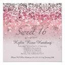 sweet 16 pink sparkle invitation square invitations