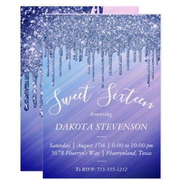 sweet 16   purple blue mermaid ombre sparkly drip invitation