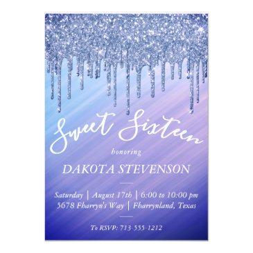 Small Sweet 16 | Purple Blue Mermaid Ombre Sparkly Drip Invitation Front View