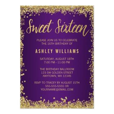 sweet 16 purple gold glitter birthday invitations