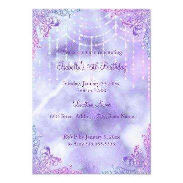 Small Sweet 16 Purple Lilac Silver Pearl Gown Invitation Back View