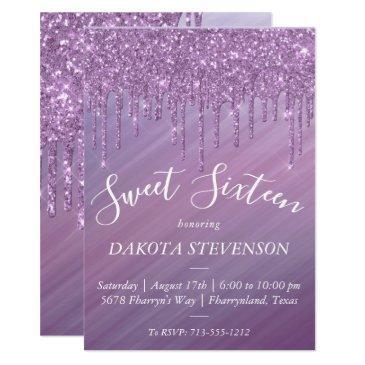 sweet 16 | purple ombre gradient glitter slime invitation