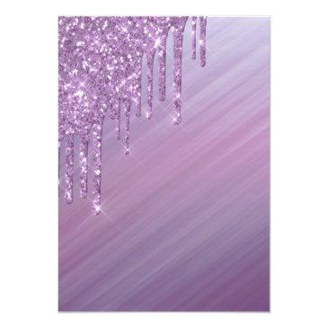 Small Sweet 16   Purple Ombre Gradient Glitter Slime Invitation Back View