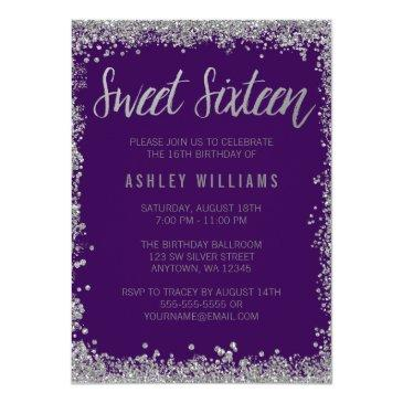sweet 16 purple silver faux glitter birthday