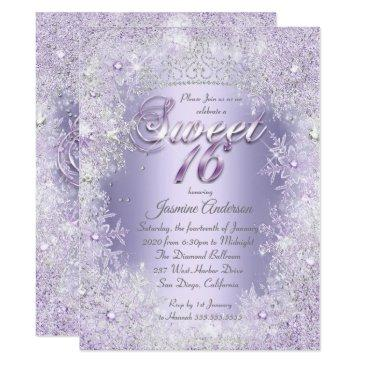sweet 16 purple silver winter wonderland tiara invitation
