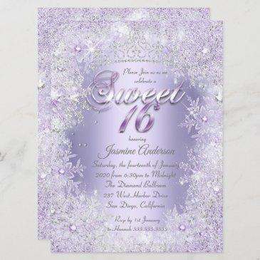 sweet 16 purple silver winter wonderland tiara invitation