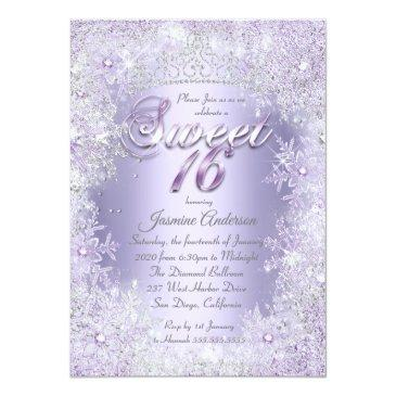 Small Sweet 16 Purple Silver Winter Wonderland Tiara Invitation Front View