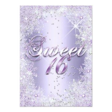 Small Sweet 16 Purple Silver Winter Wonderland Tiara Invitation Back View