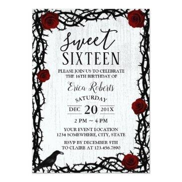 Small Sweet 16 Red Rose & Thorn Elegant Fairytale Rustic Front View