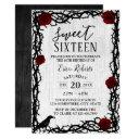 sweet 16 red rose & thorn elegant fairytale rustic invitation