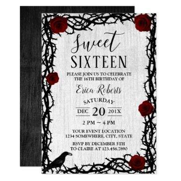 sweet 16 red rose & thorn elegant fairytale rustic