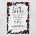 sweet 16 red rose & thorn elegant fairytale rustic invitation