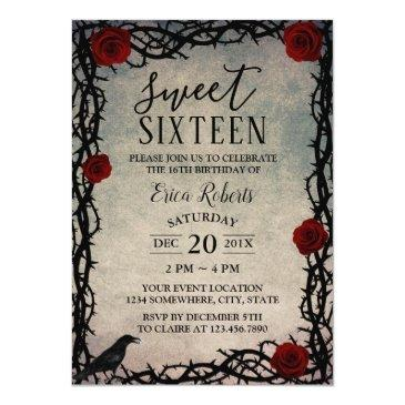 Small Sweet 16 Rose & Thorn Vintage Fairytale Birthday Invitations Front View