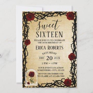 sweet 16 rose & thorn vintage fairytale birthday invitation