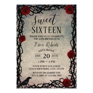 sweet 16 rose & thorn vintage fairytale birthday invitations