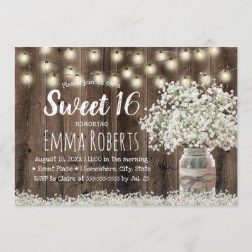 sweet 16 rustic baby's breath floral jar barn wood invitation
