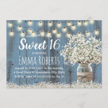 sweet 16 rustic babys breath floral jar dusty blue invitation