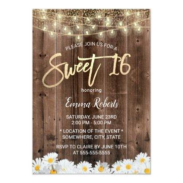 Small Sweet 16 Rustic Daisy Flowers Barn Wood Invitation Front View