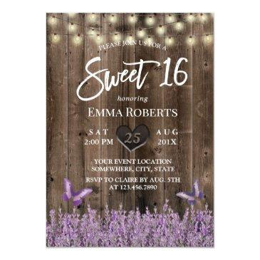 Small Sweet 16 Rustic Lavender Floral Classy Wood Invitation Front View
