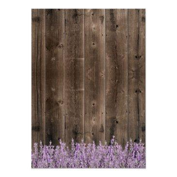 Small Sweet 16 Rustic Lavender Floral Classy Wood Invitation Back View