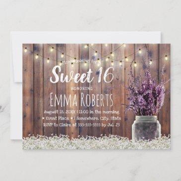 sweet 16 rustic lavender floral jar string lights invitation