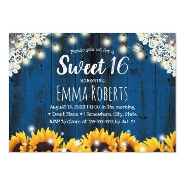 Small Sweet 16 Rustic Sunflowers Lace String Lights Navy Invitation Front View