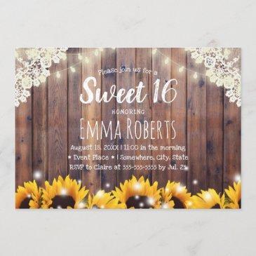 sweet 16 rustic sunflowers & string lights invitation