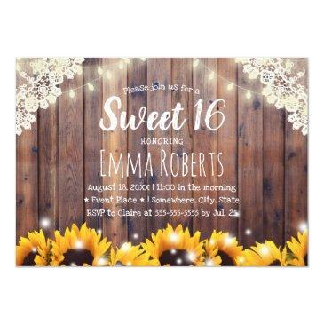 sweet 16 rustic sunflowers & string lights