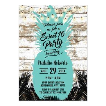sweet 16 rustic tropical beach teal pineapple invitation
