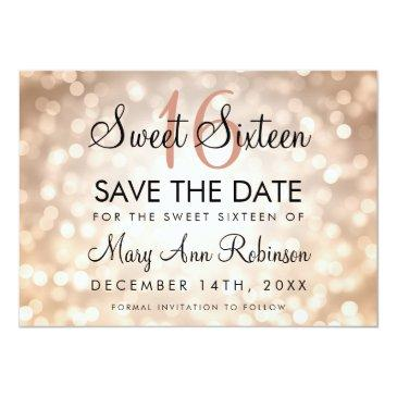 Small Sweet 16 Save The Date Rose Gold Glitter Lights Front View