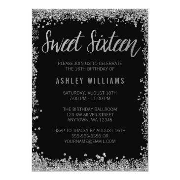 Small Sweet 16 Silver Black Faux Glitter Birthday Invitations Front View
