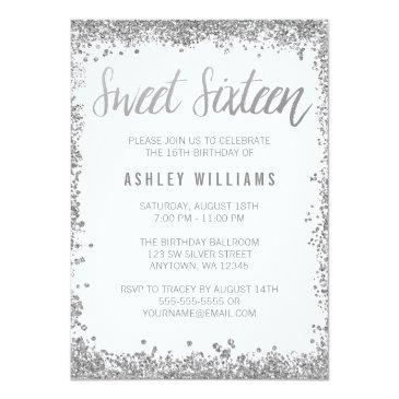 Small Sweet 16 Silver White Faux Glitter Birthday Invitations Front View