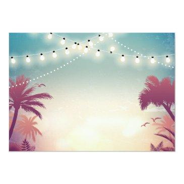 Small Sweet 16 Sixteen Bbq Party Summer String Lights Invitations Back View