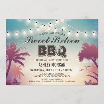 sweet 16 sixteen bbq party summer string lights invitation