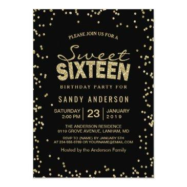 Small Sweet 16 Sixteen Party | Trendy Gold Glitter Dots Invitations Front View